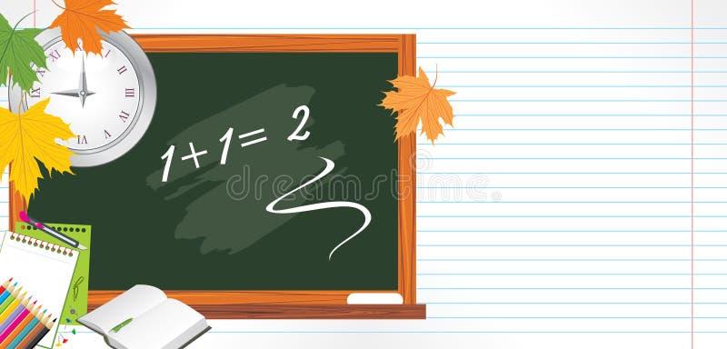 Blackboard and school accessories. Back to school stock photo