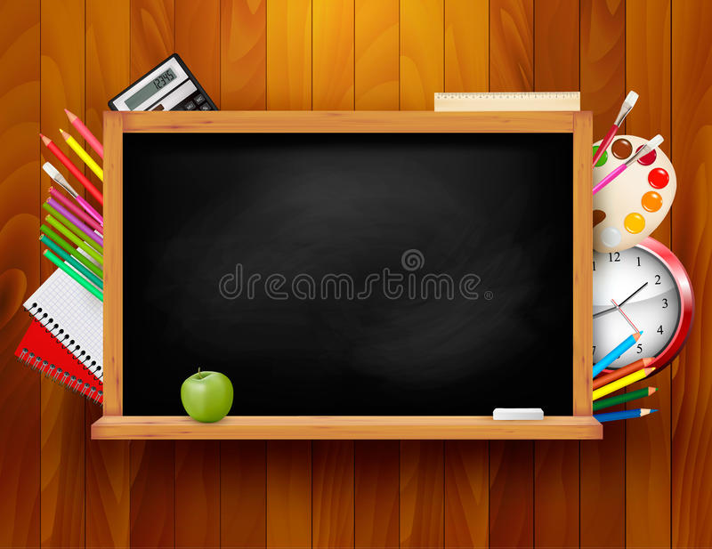 Blackboard with school supplies on wooden backgrou. Nd. Vector illustration royalty free illustration