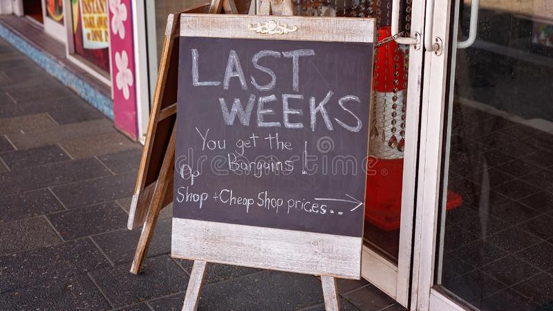 Blackboard Sign For Shop Closing Down stock photo