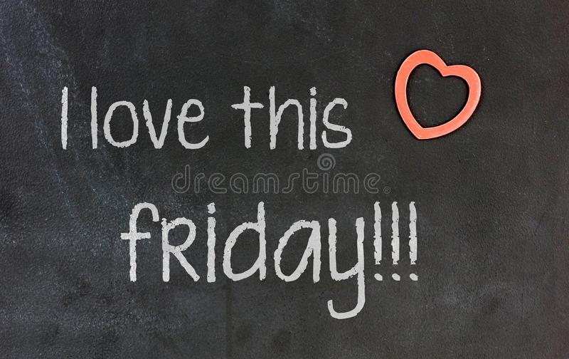 Blackboard with small red heart - I Love this friday stock images