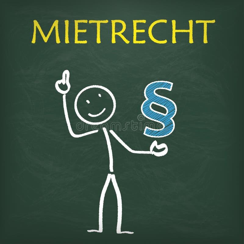 Blackboard Stickman Paragraph Mietrecht. Blackboard with stickman paragraph and german text Mietrecht, translate law of tenancy vector illustration