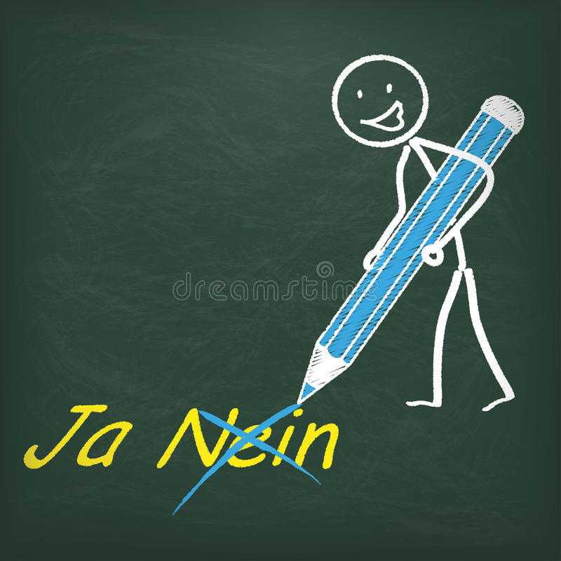 Blackboard Stickman pióro Ja Nein royalty ilustracja