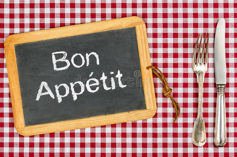 Blackboard with the text Bon Appetit royalty free stock photos