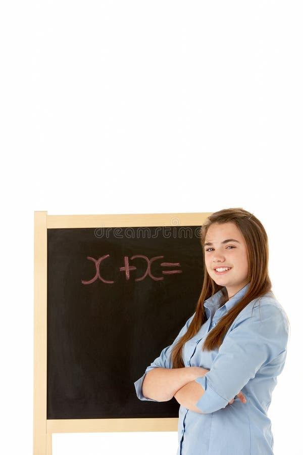 blackboard uczeń żeński następny trwanie zdjęcia stock