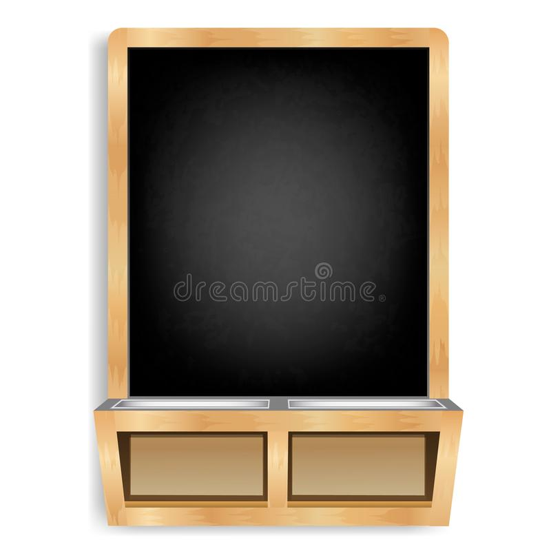 Black slate isolated3. Blackboard vertical with chalk and wooden frame with stand for school supplies. Wiped and dirty board.  Menu for cafes and restaurants vector illustration