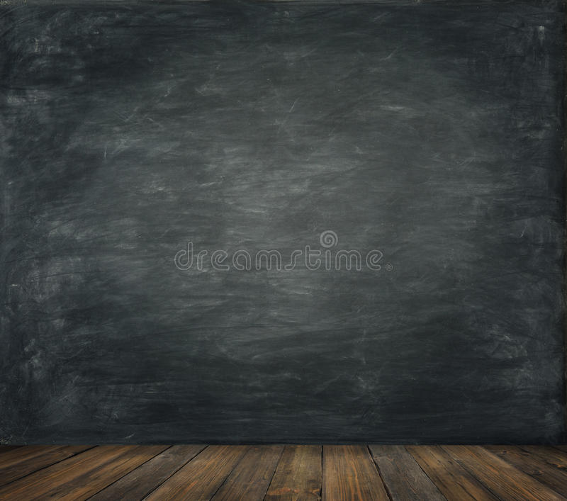 Blackboard Wall Wood Floor Background, School Black Board stock images