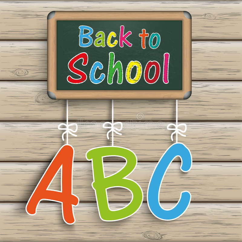 Blackboard Wood ABC Back to Shool royalty free illustration