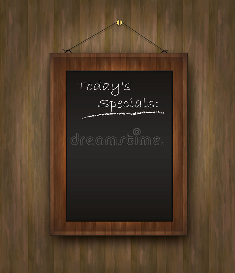Blackboard wood menu Todays special black royalty free illustration