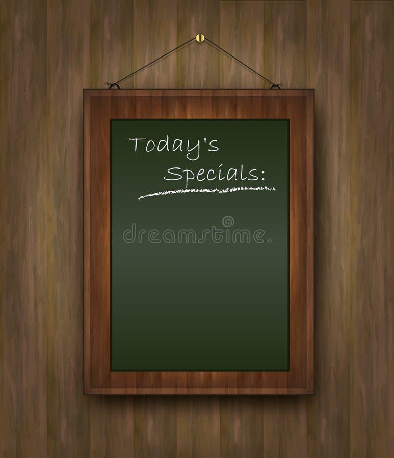 Blackboard wood menu Todays special green vector illustration