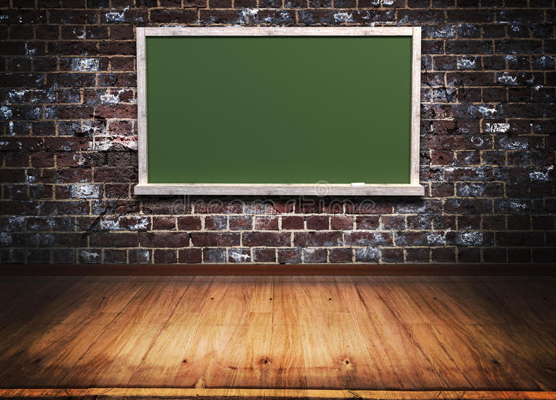 Blackboard with wooden frame on brick wall vector illustration