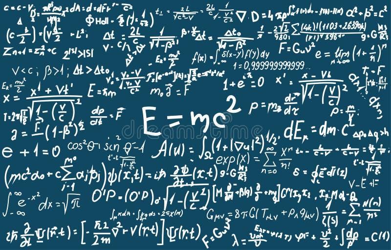 Blackboard wpisujący z naukowymi formułami i obliczeniami w physics i mathematics Może ilustrować naukowego ilustracja wektor