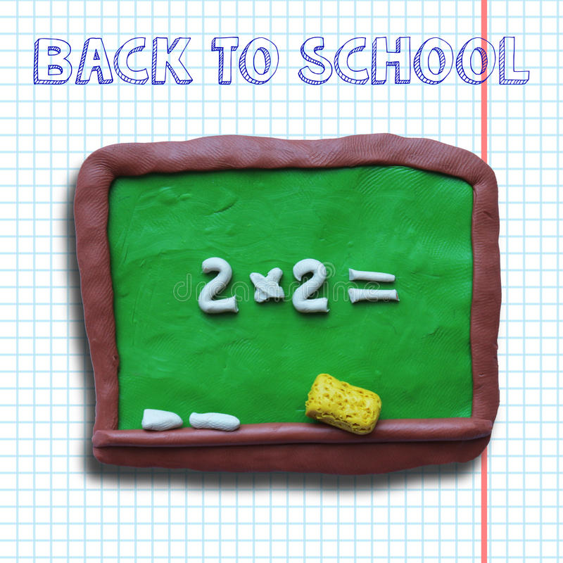 Blackboard with yellow sponge. On exercise book sheet background. On board an example 2 x 2 equals. Plasticine modelling royalty free illustration