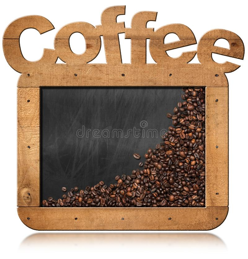 Blackboard z Kawowymi fasolami i tekst kawą ilustracja wektor
