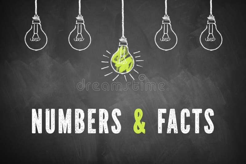 Blackboard z lightbulbs i słowa ` liczbami fact ` & ilustracja wektor