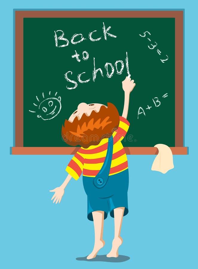blackboardpojken skriver stock illustrationer
