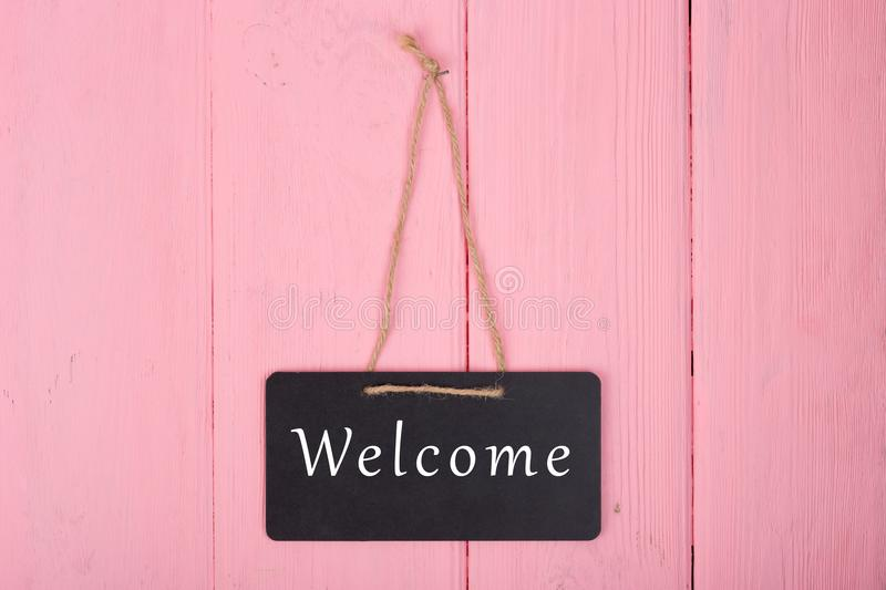 Blackboards with inscription `Welcome` stock images