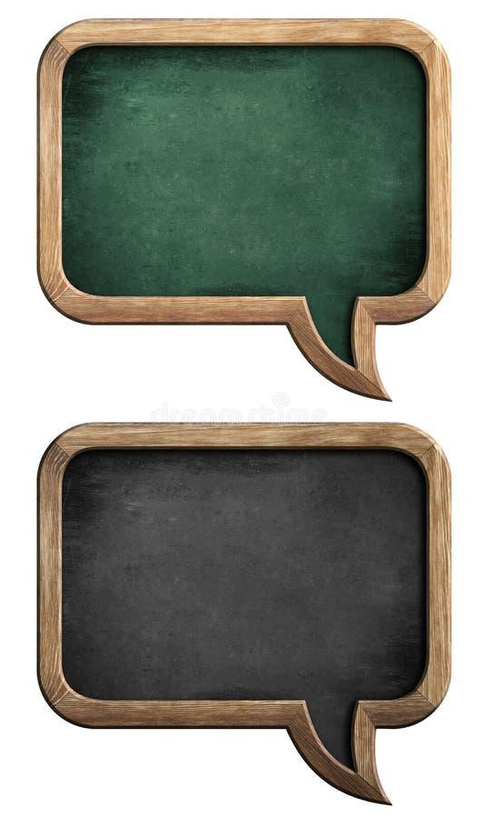 Blackboards lub chalkboards ustawiający w kształcie mowa gulgoczą obrazy stock