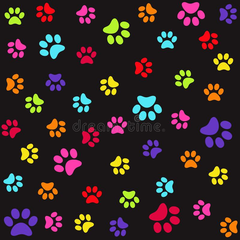 Seamless pattern with colorful animal foot prints, paws stock illustration