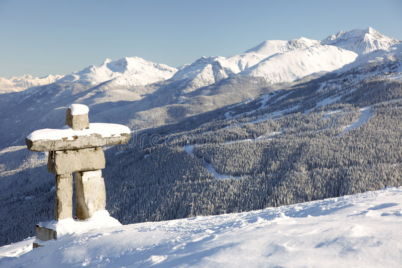 Blackcomb Sentry. A structure similar to an inuksuk but meant to represent a human figure, called an inunnguaq is a traditional native sculpture. This is also stock image