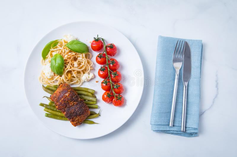 Blackened Cod Tomatoes Beans Pasta stock images