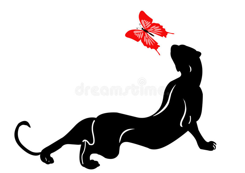 Blackenning Panther  With Butterfly Royalty Free Stock Image