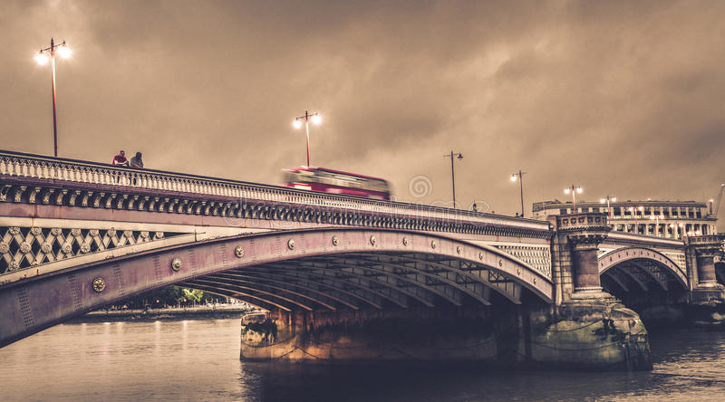 Blackfriars Bridge at dusk royalty free stock images