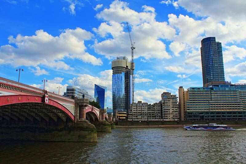 Blackfriars Bridge and the riverside modern buildings stock photos