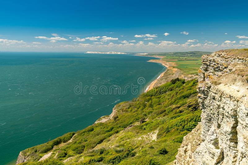 Blackgang, Isle of Wight looking west towards the Needles royalty free stock photos