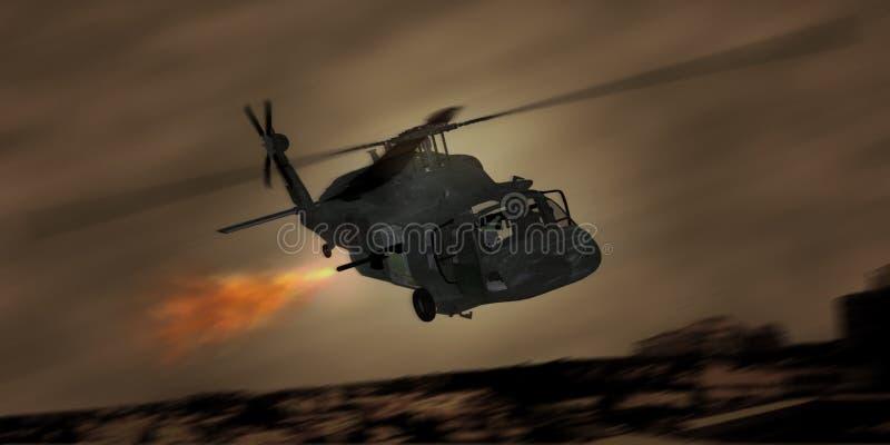 Blackhawk sobre Bagdade ilustração royalty free