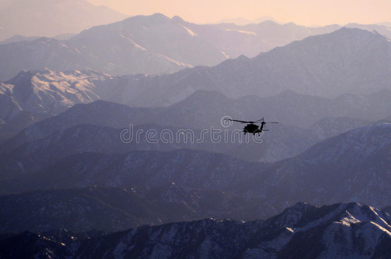 Blackhawk, Sunset, Afghanistan stock images