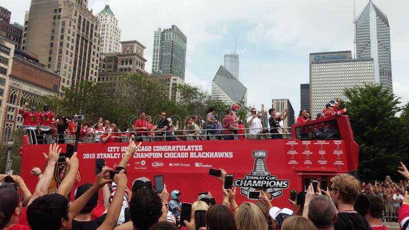 Blackhawks Stanley Cup Parade Chicago arkivbilder