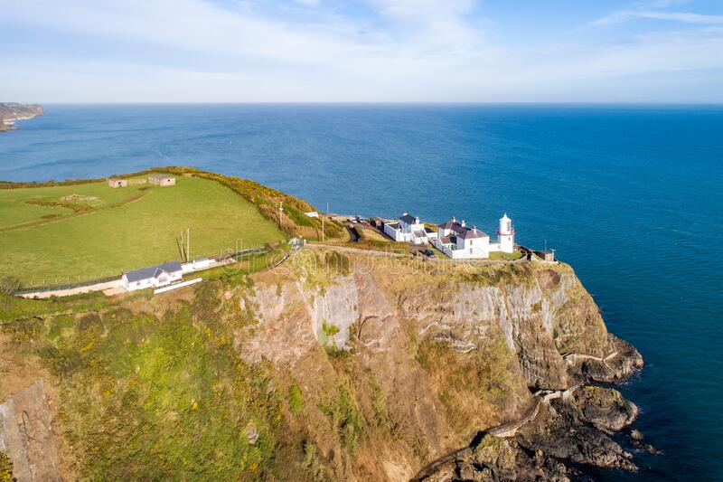 Blackhead Lighthouse, Atlantic coast, Northern Ireland royalty free stock images