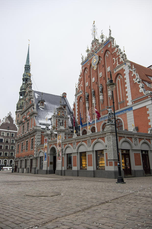 Blackheads House on the Town Hall square, Riga, Latvia royalty free stock image
