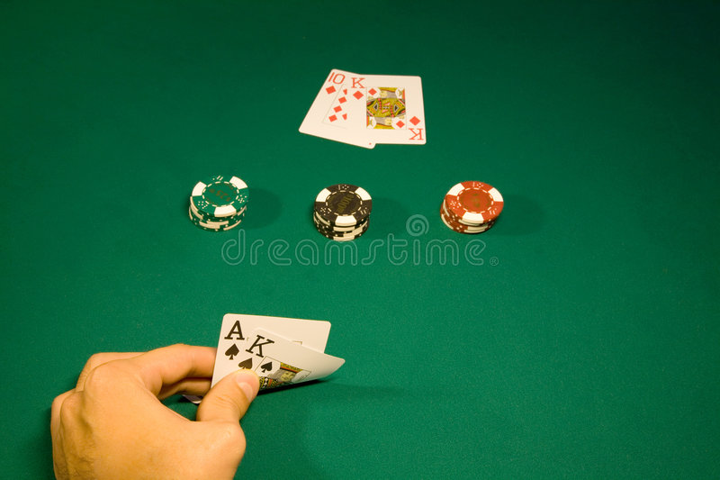 Blackjack. Win in the blackjack in casino with chips stock images