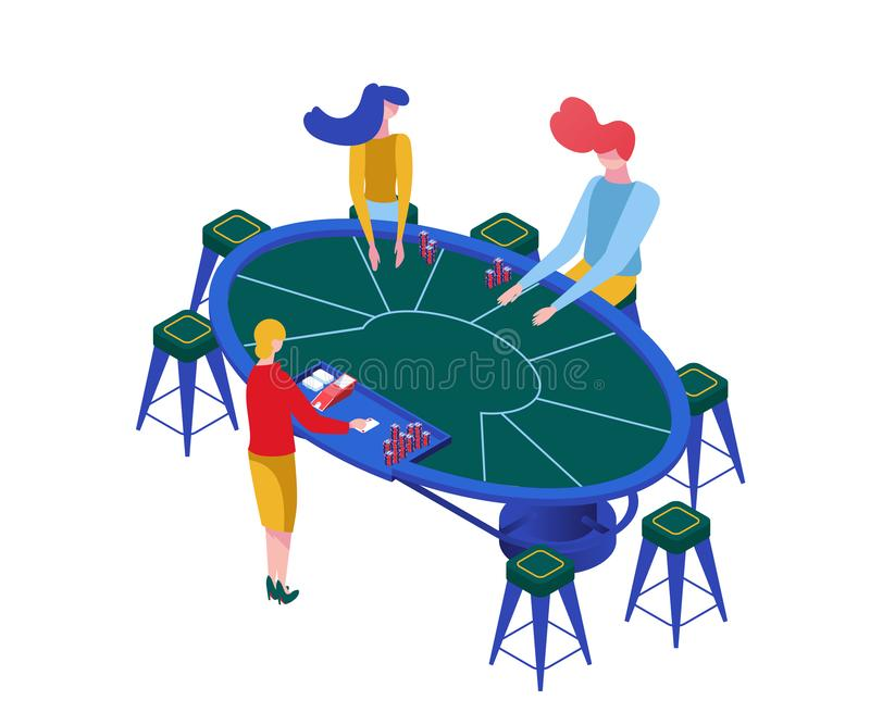 Blackjack game isometric vector color illustration. Gamblers playing classic casino games, female croupier and players. Blackjack game isometric vector vector illustration