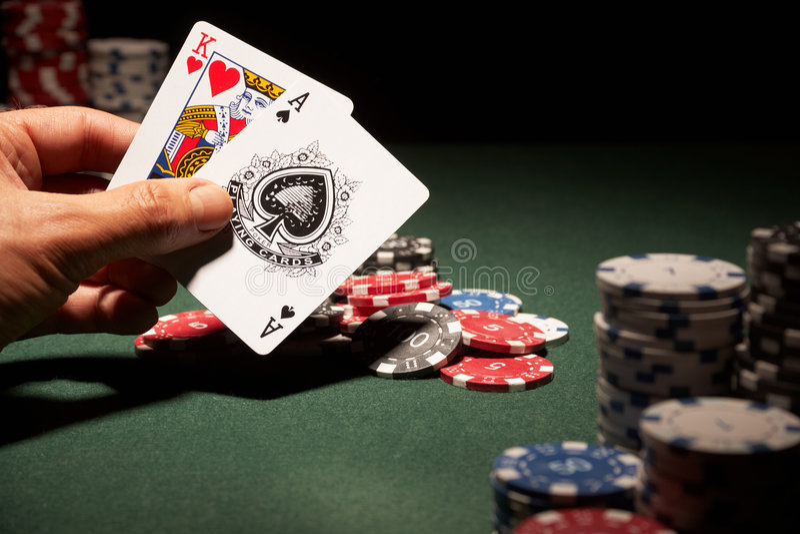 Blackjack hand of cards stock photos