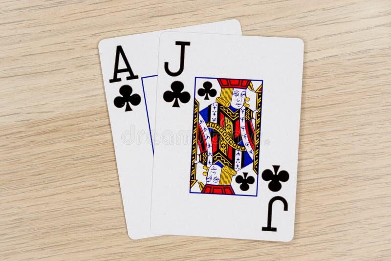 Blackjack - kasino som spelar pokerkort royaltyfri fotografi