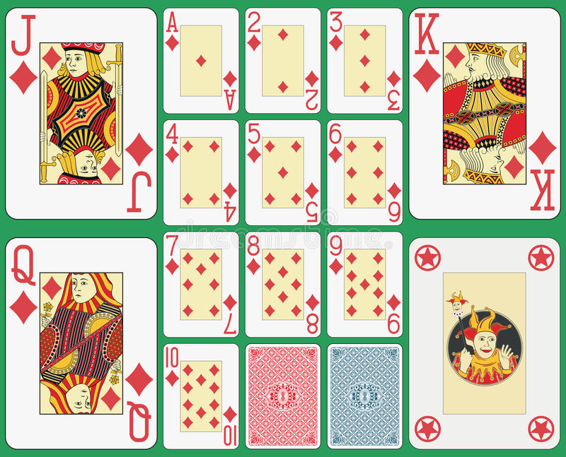 Blackjack Playing Cards Diamonds Suit. Playing cards diamonds suit, blackjack version. Faces and joker double sized. Two cards back and green background stock illustration