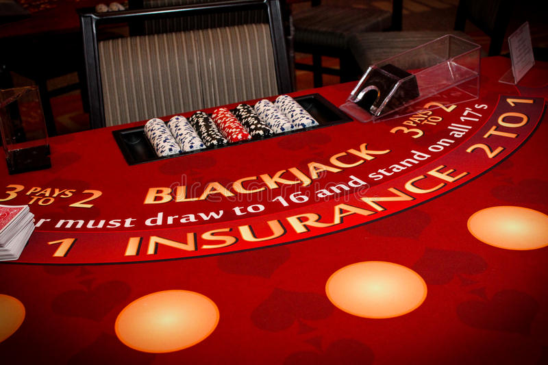 Blackjack Table. Set up ready for play royalty free stock images