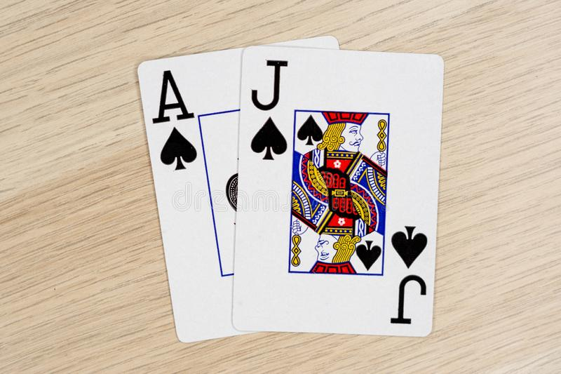 Blackjack casino playing poker cards royalty free stock photography