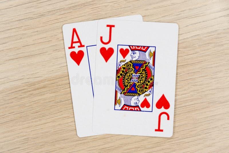 Blackjack casino playing poker cards stock image