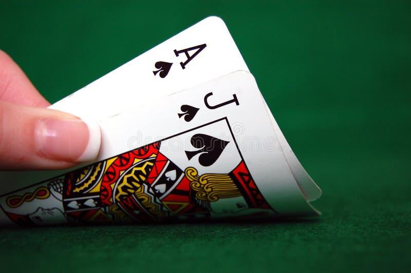 Blackjackkort fotografering för bildbyråer