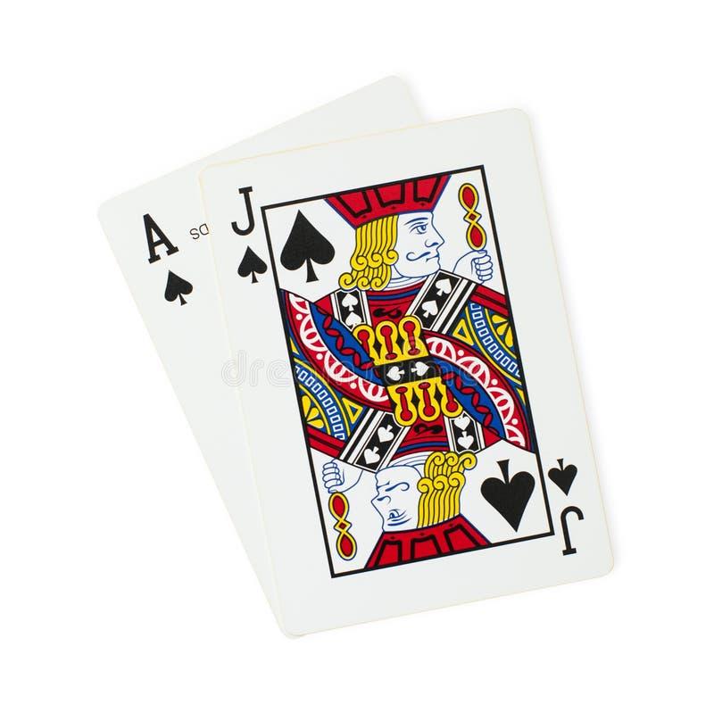 Blackjackspeelkaarten stock afbeelding