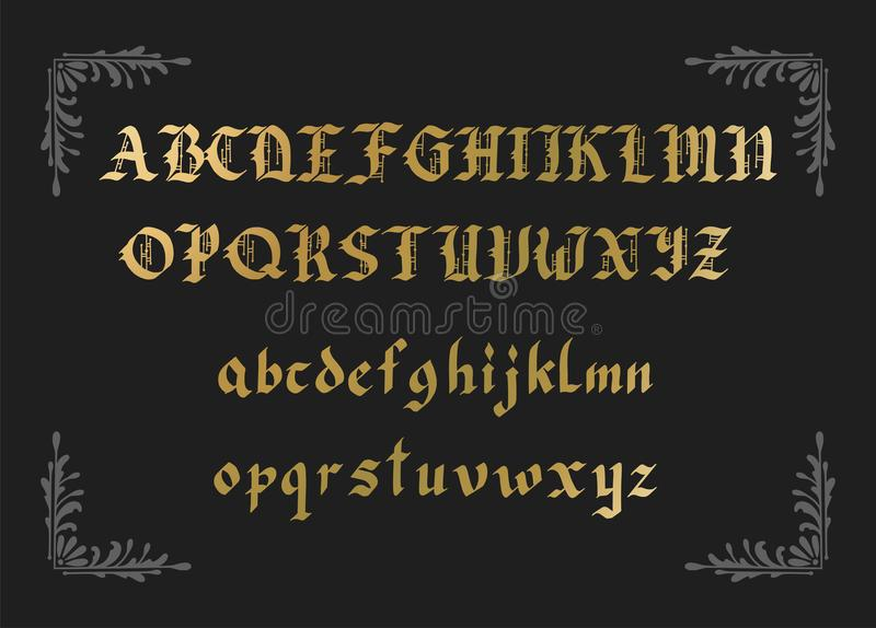 Blackletter gothic script hand-drawn font. Decorative vintage styled vector letters stock illustration