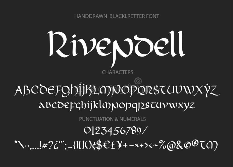 Blackletter Gothic Script Hand-drawn Font  Stock Vector
