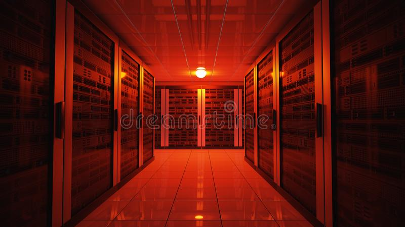 Blackout concept. Emergency failure red light in data center with servers. 3D rendered illustration.  royalty free illustration
