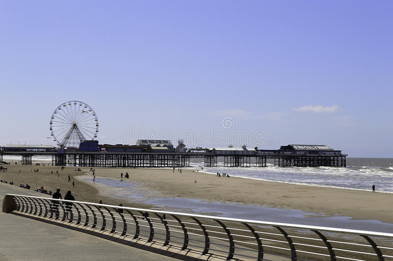 Blackpool central pier and beach stock photos