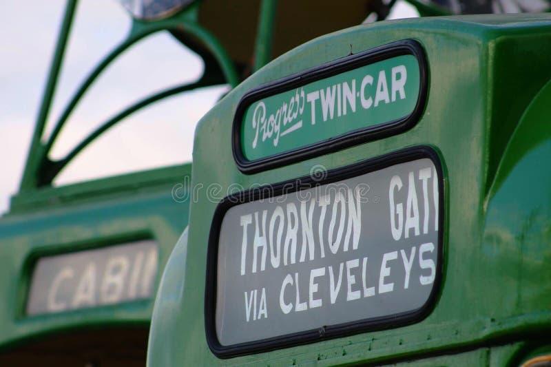 Blackpool-Erbe trams Bestimmungsortvorhänge stockbild