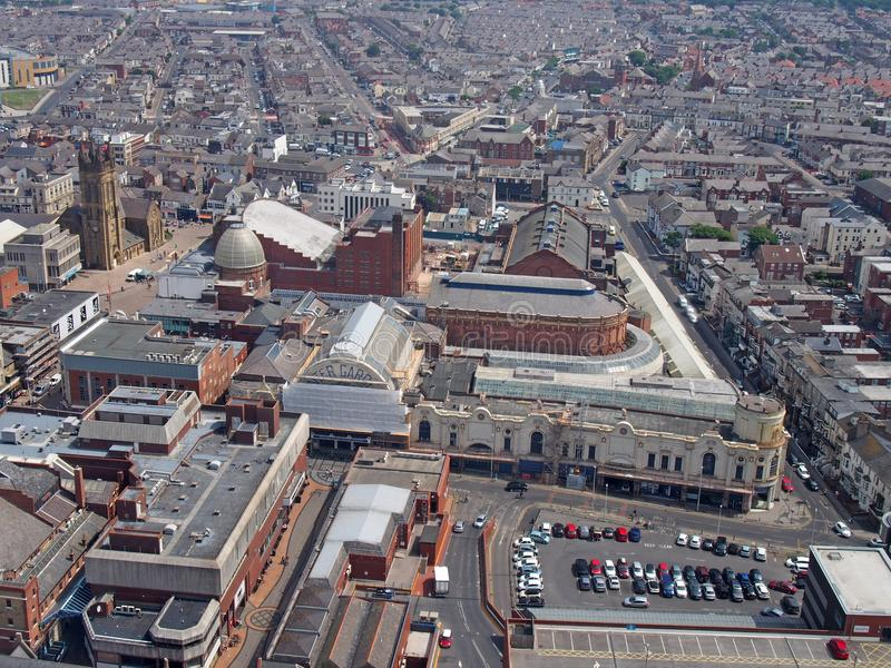 Aerial view of blackpool showing streets of the town centre and the winter gardens building royalty free stock photo