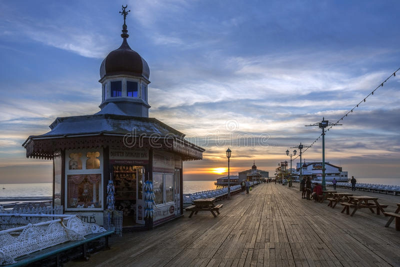 Blackpool North Pier at dusk - England royalty free stock images